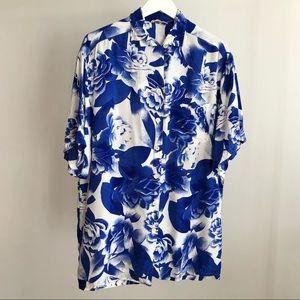 Georges Rech Synonyme VTG 80s Blue Hawaiian Shirt